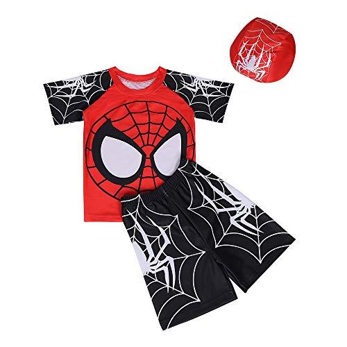 KISSI Toddler Boy Swimsuit Spiderman Rush Guard UPF50 Spider-Man Swim Trunk Cap 3PCS Set, B-black01, 120/5T