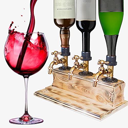 YZILXY Dispensador de Madera para Whisky, Licor para el día del Padre, Alcohol, dispensador de Madera para Whisky, Forma de Grifo para Fiestas, cenas, Bares y Estaciones de Bebidas (Triple)