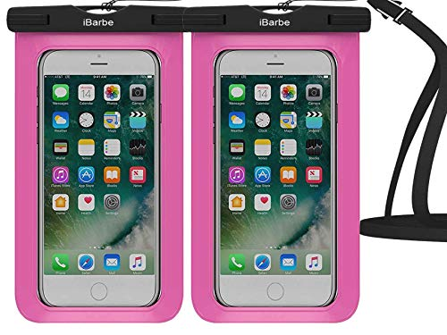 Wasserdichte Hülle, 2 Stück Universal Handy Dry Bag Pouch Unterwasser kompatibel mit iPhone 12 Mini 11 Pro Max X XR XS MAX 8 Plus 7 7 Plus 6S 6 6S Plus SE usw. bis 16 cm (6,3 Zoll), Rose