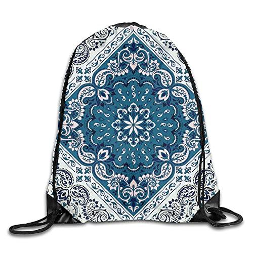 DJNGN Bandanna Print Abstract Drawstring Mochila Gym String Bag Impermeable Cinch Sport Sack Ligero Playa Yoga Compras para Mujeres Niñas Hombres Niños Adultos Al Aire Libre