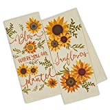 Design Imports DII Set 2 Sunny Sunflower Printed Kitchen Dish Towels - Bloom Where You are Planted - Sunflowers