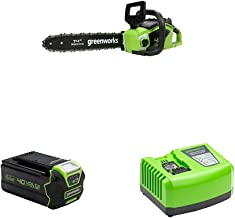 Greenworks Cordless Chainsaw GD40CS15 + 40V Battery G40B4 + Tools Battery Fast Charger G40UC4