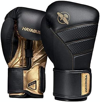 Hayabusa - Guantes T3 de boxeo, para hombres y mujeres, Negro/Dorado, 16 onzas