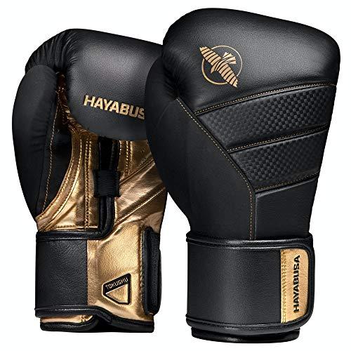 Hayabusa - Guantes de boxeo T3, 14oz, Negro/Dorado