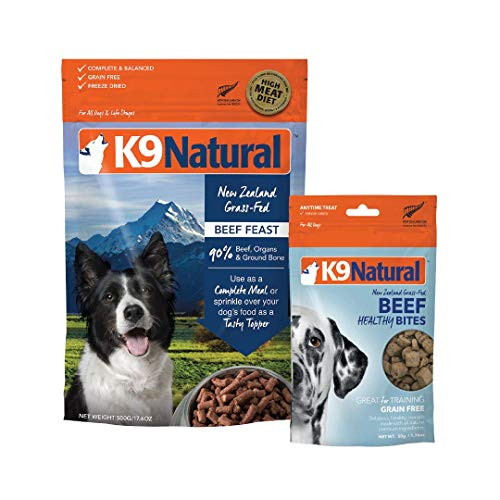 K9 Natural Grain-Free Dog Beef Food or Topper 17.6oz and Beef Bites 1.7oz Bundle