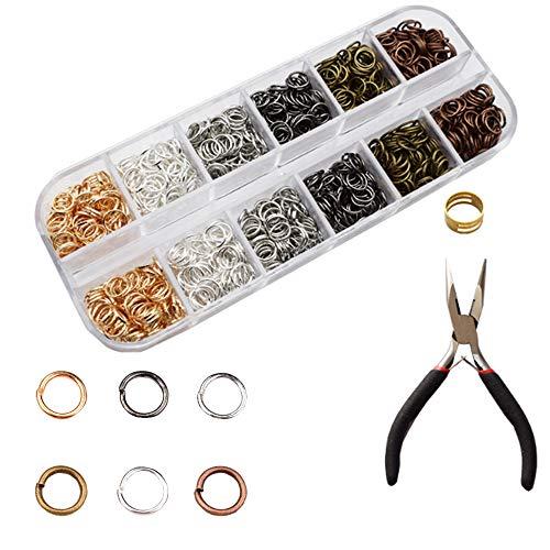 Sweieoni Anillo de Salto Cierres Collares 1680 Piezas Enganche Collares Anillas de Metal Kit de Hacer Bisutería para Collares de Conexión, Fabricación de Joyas de Bricolaje Joyas Llaveros