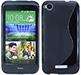 ENERGMiX Silikon Hülle kompatibel mit HTC Desire 320 Tasche Case Gummi Schutzhülle Zubehör in Schwarz