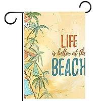 ガーデンサイン庭の装飾屋外バナー垂直旗ヤシの木の夏のビーチ オールシーズンダブルレイヤー