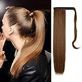 FESHFEN Cola de Caballo Extensiones Postizos de pelo fibras sintéticas de cabello pelo liso largo 61cm, 125g