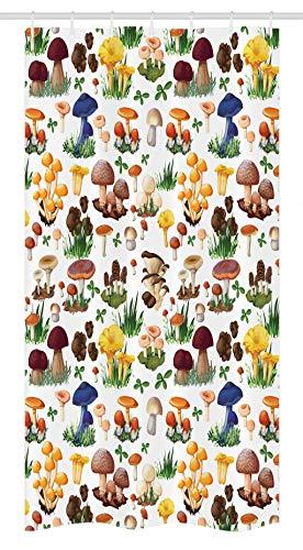 "Ambesonne Mushroom Stall Shower Curtain, Pattern Types of Mushrooms Wild Species Organic Natural Food Garden Theme, Fabric Bathroom Decor Set with Hooks, 36"" X 72"", Yellow White"