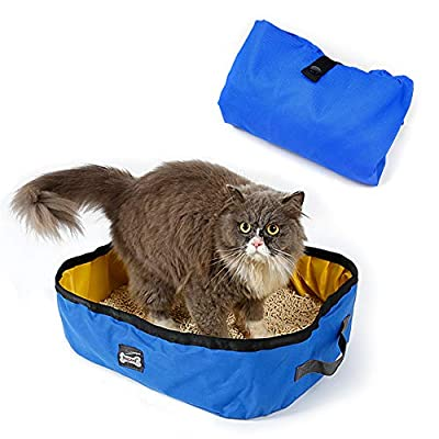 Petneces Cat Litter Box Foldable Portable Waterproof Cat Litter Tray for Travel Trip Outdoor Cat Box Carrier Blue and Yellow by petneces-1