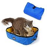 Petneces Katzentoilette Faltbare Tragbare wasserdichte Katzentoiletten für die Reise im Freien Katzenklo (Blau und Gelb)