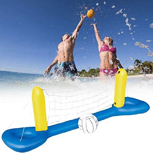 Ginkago Aufblasbar Pool Volleybal Game, Sommer Pool Beach Wasserballspiel Volleyball Netz Spielzeug (Blue)