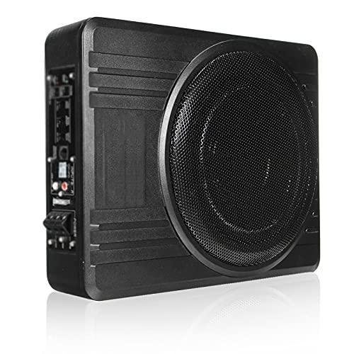 LQIAN 600W 10 Inch Car Amplifier Subwoofer Car Audio Slim Under Seat Active Subwoofer Bass Speaker Car Amplifier Subwoofer