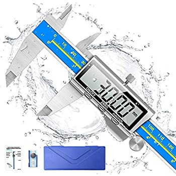 Digital Caliper Qfun 6 Inch Caliper Measuring Tool Extreme Accuracy IP54 Waterproof Electronic Vernier Caliper Industrial Stainless Steel Digital Micrometer with Large LCD Screen Inch/Milimeter