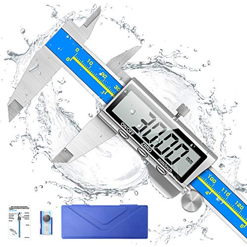 Digital Caliper, Qfun 6 Inch Caliper Measuring Tool Extreme Accuracy IP54 Waterproof Electronic Vernier Caliper Industrial Stainless Steel Digital Micrometer with Large LCD Screen, Inch/Milimeter