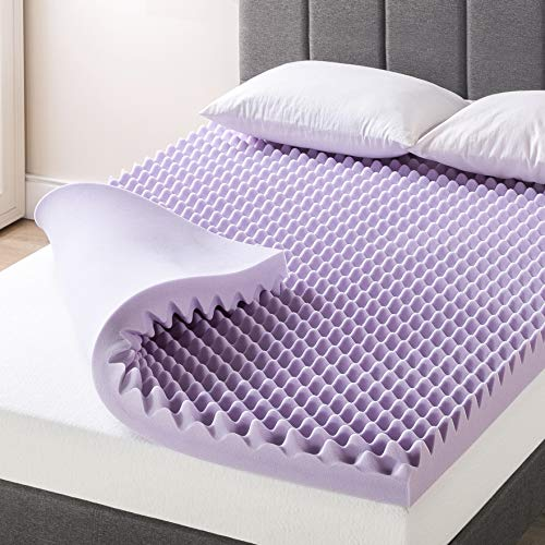 Best Price Mattress 4 Inch Egg Crate Memory Foam Mattress Topper with Soothing Lavender Infusion, CertiPUR-US Certified, Queen