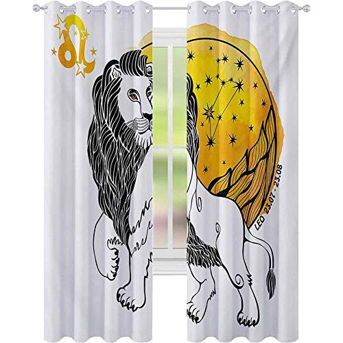Cortinas para dormitorio, signo de Leo símbolo de líder del zodiaco con sol gigante y estrellas imagen de la fortuna de nacimiento, 52 x 84 cortinas para sala de estar, dormitorio, multicolor