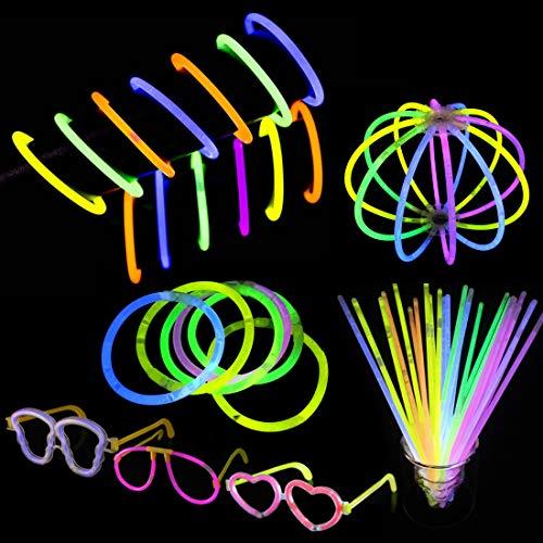 Fanmad Knicklichter, 100 Stück, 214 Sets für Armbänder, Ketten, etc. - Knicklicht-Set - Partybox mit vielen Accessoires, Glow Sticks, Leuchtstab für Kinder, Knicklicht für Hochzeiten