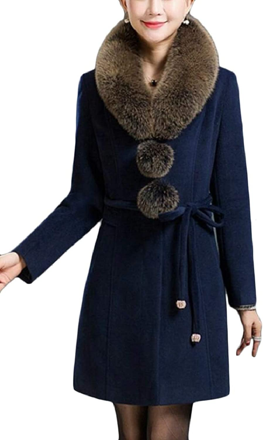 PujinggeCA Womens Pure color Winter FauxFur Collar Pea Mid Long Woolen Trench Coat