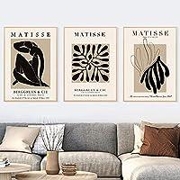 ポスターアートワークアンリマティス抽象ミニマリストイラストプリントヴィンテージポスターベージュの壁の写真家の装飾3ピース60x80cmフレームなし