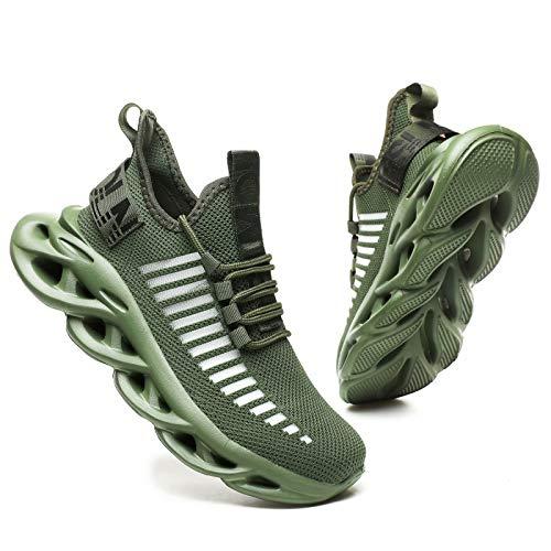 GSLMOLN Zapatillas deportivas para hombre y mujer, ligeras, para el tiempo libre, transpirables, con 9 colores, 36-46, Verde militar, 38 EU