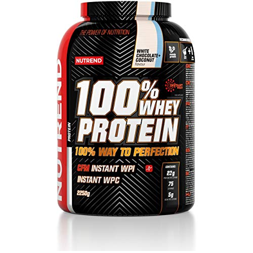 Nutrend 100% Whey Protein Package of 1 x 2250g – Whey Protein Concentrate – Protein Powder for Muscle – Supplement Bodybuilding – Amino Acid – BCAA (White Chocolate Coconut)