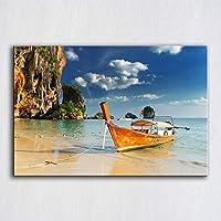 キャンバス塗装 海の風景の壁の写真の現代家の装飾の芸術作品の居間のボートのため 50*75cm