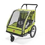 Allen Sports ES2-G Remolque de Bicicleta, Unisex Adulto, Verde, 2-Child