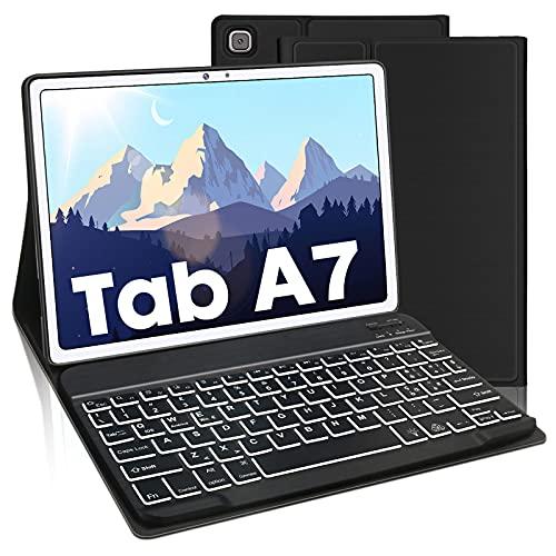 AVNICUD Tastiera con Custodia per Samsung Galaxy Tab A7 10,4  2020, Bluetooth Italiano a 7 colori illuminato e tastiera staccabile per Samsung Galaxy Tab A7 (SM-T505   T500   T507), Nero