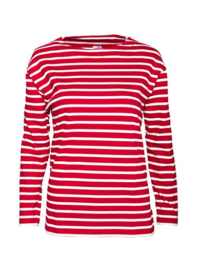 modAS Bretonisches Fischerhemd Damen, Langarm - Streifenshirt, Ringels, 40, rot/weissgestreift