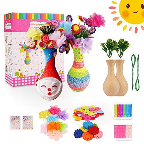 Bukm 2 Pack Flower Craft Kit for Kids,DIY Arts and Crafts with Favors Vase,Flowers,Colorful Button Flowers Crafts for Kids Ages 4-6 6-8 8-12 Boys and Girls Birthday