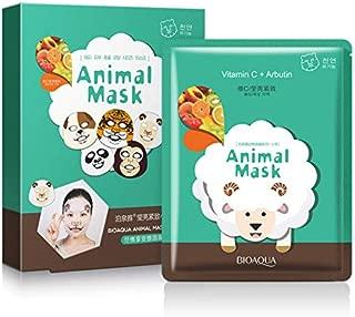 5 PCS Animals Character Printed Moisturizing, Hyaluronic Acid,Blackberry,Vitamin C+ Arbutin,Snail, Red Ginseng Mask Set (Sheep)