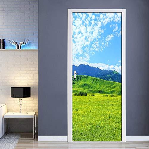 Diopn deursticker DIY deur renovatie zelfklevend canvas Prairie landschap afbeelding sticker decoratie nieuw waterdicht kunstwerk 3D(70 * 200)