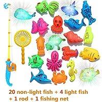 キムテリーNEW!サプライズトレジャー釣りおもちゃセット、誘導ライトアップ磁気釣りおもちゃ、男の子の女の子のお風呂のおもちゃパーティーゲーム