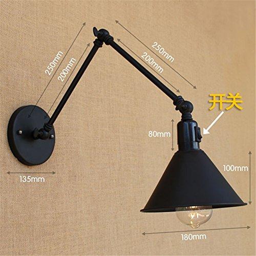 Applique murale noire en fer forgé à double bras noir double interrupteur, longueur de bras 20 +20 cm