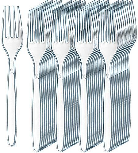 300 Clear Plastic Forks | Heavyweight Plastic Silverware Forks | Fancy Plastic Cutlery | Elegant Disposable Forks Pack | Bulk Disposable Flatware | Plastic Utensils Set | Disposable Silverware Cutlery