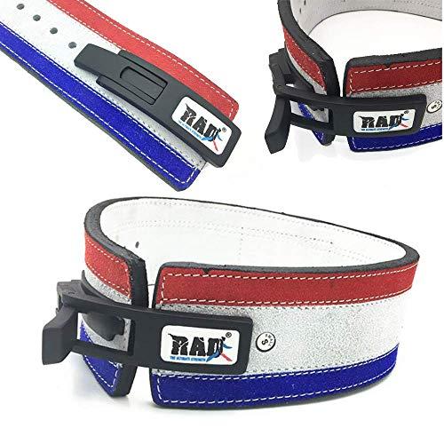 2Fit, cintura robusta con fibbia in pelle bovina per palestra, sollevamento pesi, fitness, body building, resistente cinghia per uomo o donna, unisex, Blue & Red, M