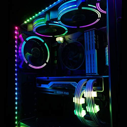 EZDIY-FAB adressierbare RGB LED Streifen mit Magnet für PC-Computergehäuse, mit Fernbedienung (kompatibel mit ASUS Aura Sync, und MSI Mystic Light Sync) - 2 Pack 40 cm