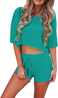 ZQISHMAO Womens Short Sleeve 2 Piece Outfit Round Neck Tee with Shorts Set