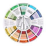 Guía de mezcla profesional, Rueda de Artista de Color, rueda de colores Círculo cromático Tatuaje redondo Pigmento de uñas Rueda de color Suministros de tarjetas de papel Rueda de color