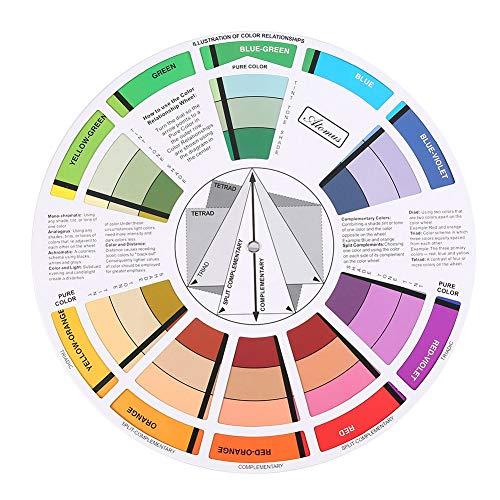 Rueda de color, guía de bolsillo de mezcla de colores, colores de círculo cromático para guía de mezcla de colores, 23.5 cm