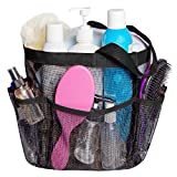 Attmu Mesh Caddy, Quick Dry Shower Tote Bag Oxford Hanging Toiletry and Bath Organizer with 8 Storage Compartments for Shampoo, Conditioner, Soap and Other Bathroom Accessories, Black