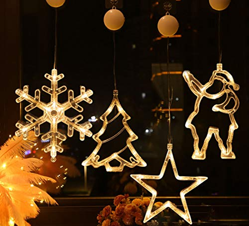 Lareina.C 4er Set Fensterdeko Hängend Fensterlicht mit Saugnapf LED Warm Weiß Batteriebetrieb Weihnachtsbeleuchtung Weihnachtsmann Weihnachtsbaum Stern Schneeflocke für Weihnachtsdeko (Xmas Set B)