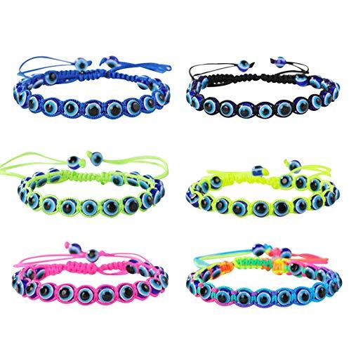 SUMMER LOVE Evil Eye Bead Bracelets Hand-Woven Ojo Turco Lucky Kabbalah Protection Nazar Amulet Bracelet Anklet for Women Kids Men