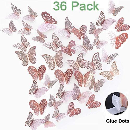3D Schmetterlinge Deko wand Wandsticker Aufkleber Wandtattoo für Wohnzimmer, Kinderzimmer, Türen, Fenster, Badezimmer, Kühlschrank(36 Stück, roségold)