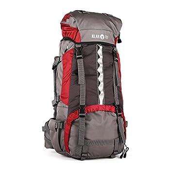 Klarfit Heyerdahl 2014 Sac à Dos Sport (Housse imperméable, Trekking, randonnée, Camping, 70L, Design Cool Air, Support Baton) - Rouge