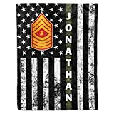 Personalized Name Rank United States US Marine Corps Soldier Military USMC Veteran Birthday Christmas Fleece Sherpa Blanket Bed Throw Tapestry Wall Hanging (Custom Marines, Fleece - 50x60)
