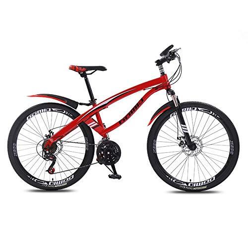 DGAGD Bicicleta de montaña de 24 Pulgadas, luz de Velocidad Variable, 40 Ruedas de Cuchillo, Bicicleta-Rojo_24 velocidades