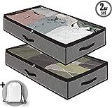 Dafooda 2 x robuste Unterbettkommode, Stoff, atmungsaktiv 100 x 50 x 18 cm (90 Liter) + Baumwollbeutel, platzsparende Aufbewahrung unter dem Bett, Organizer für Auto und Hobby